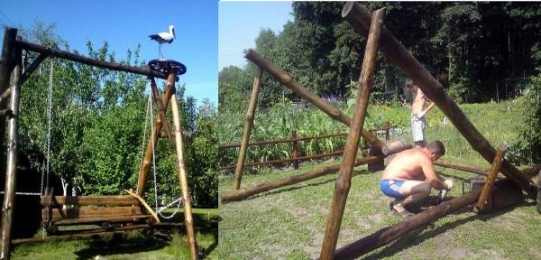 Как сделать качели своими руками из разных материалов: дачные садовые + фото