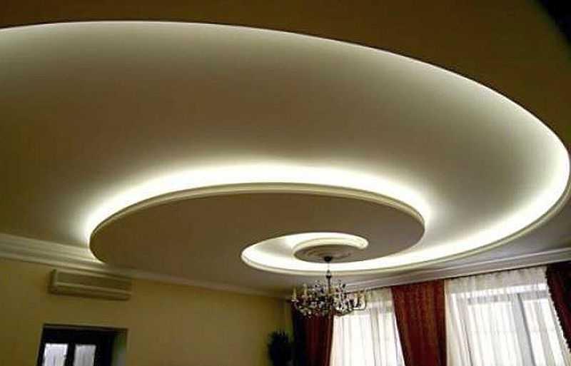 Потолок с гипсокартона с подсветкой: ниша со скрытой светодиодной лентой