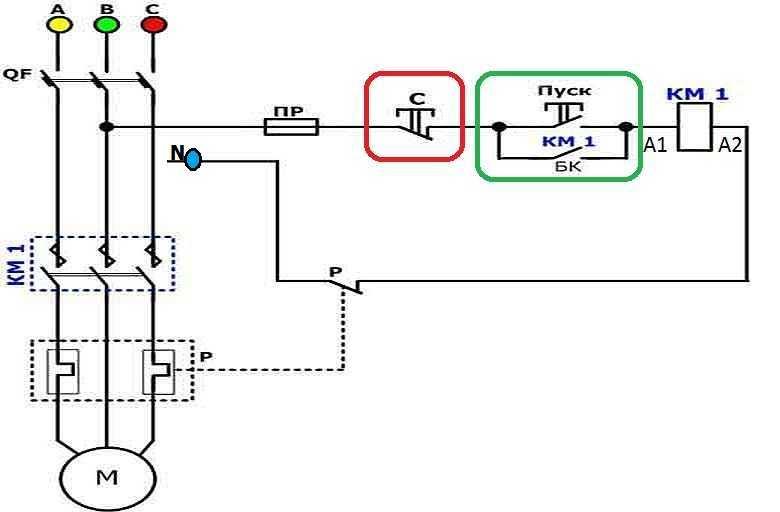 Схемы подключения магнитного пускателя на 220 В и 380 В: как подключить контактор своими руками