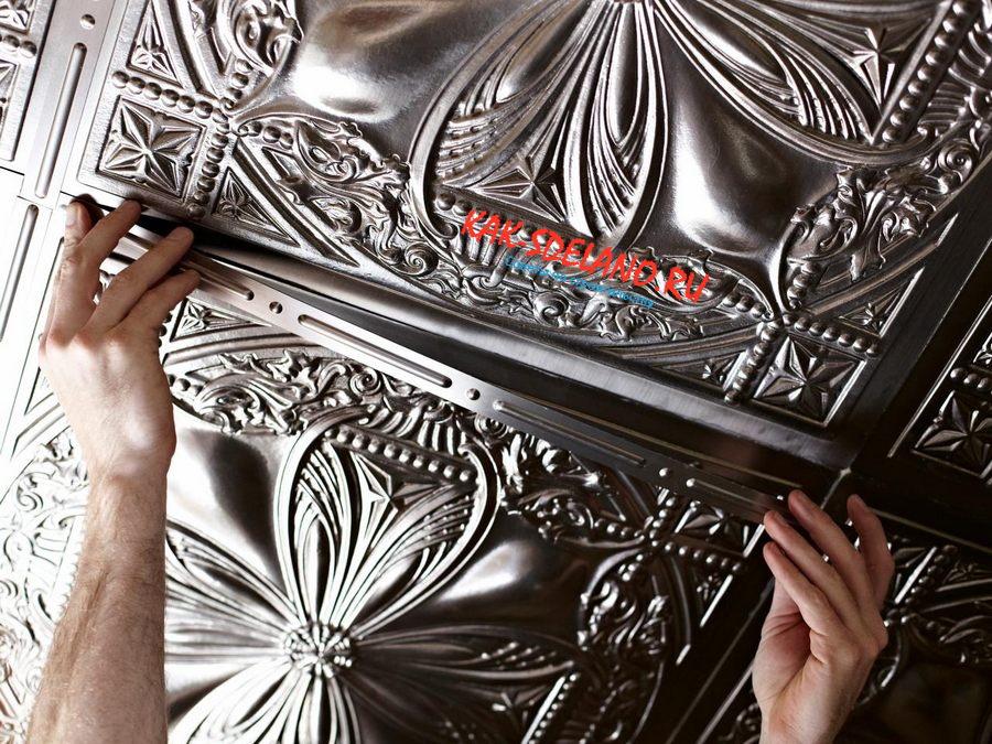 Как клеить потолочную плитку из пенопласта своими руками: разные способы