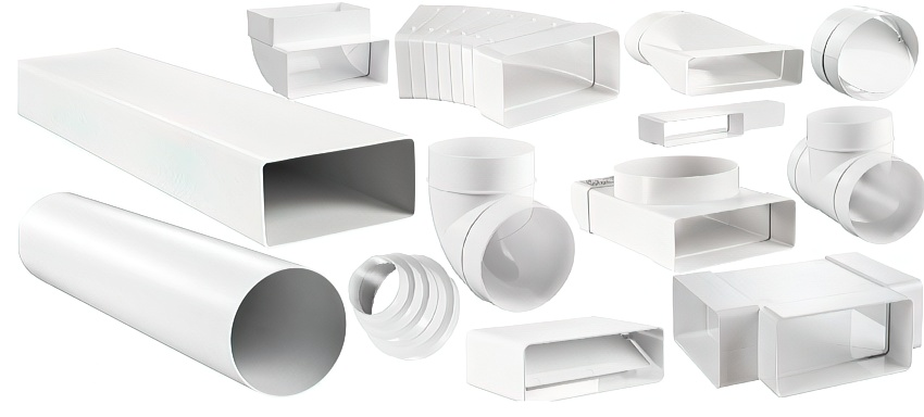 Пластиковые воздуховоды: прямоугольная вентиляция, виды, размеры, элементы, трубы + фото