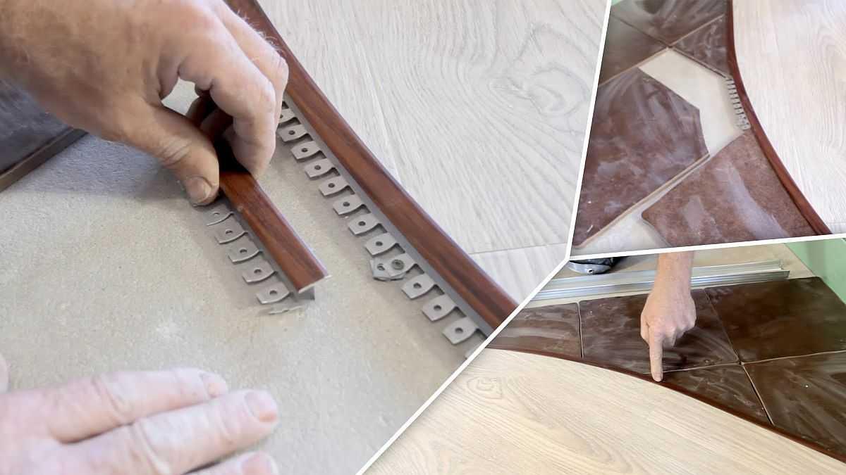 Стык плитки и ламината: варианты и способы оформления - (фото+видео)