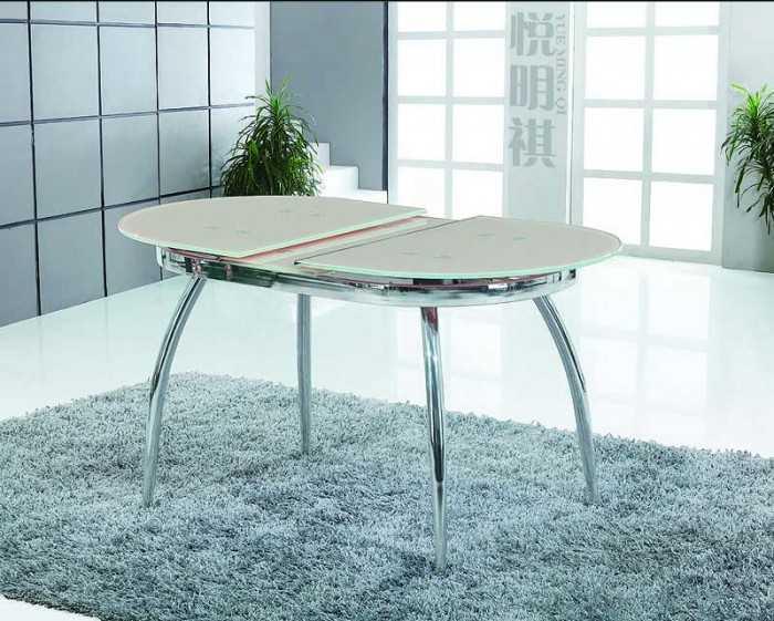 Стеклянные столы для кухни: идеи овальных, круглых форм, с фотопечатью (45 фото)
