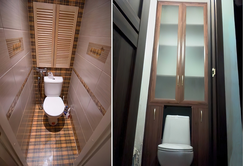 Шкаф в туалет своими руками: навесной, встроенный