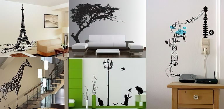 Наклейки на стену (стикеры): виниловые, интерьерные, декоративные