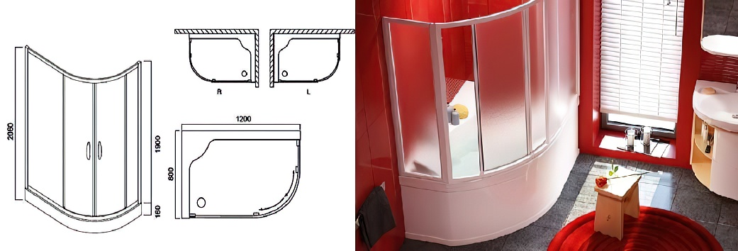 Размеры душевых кабин: прямоугольных, квадратных, многоугольных, асимметричных, виды + советы по выбору