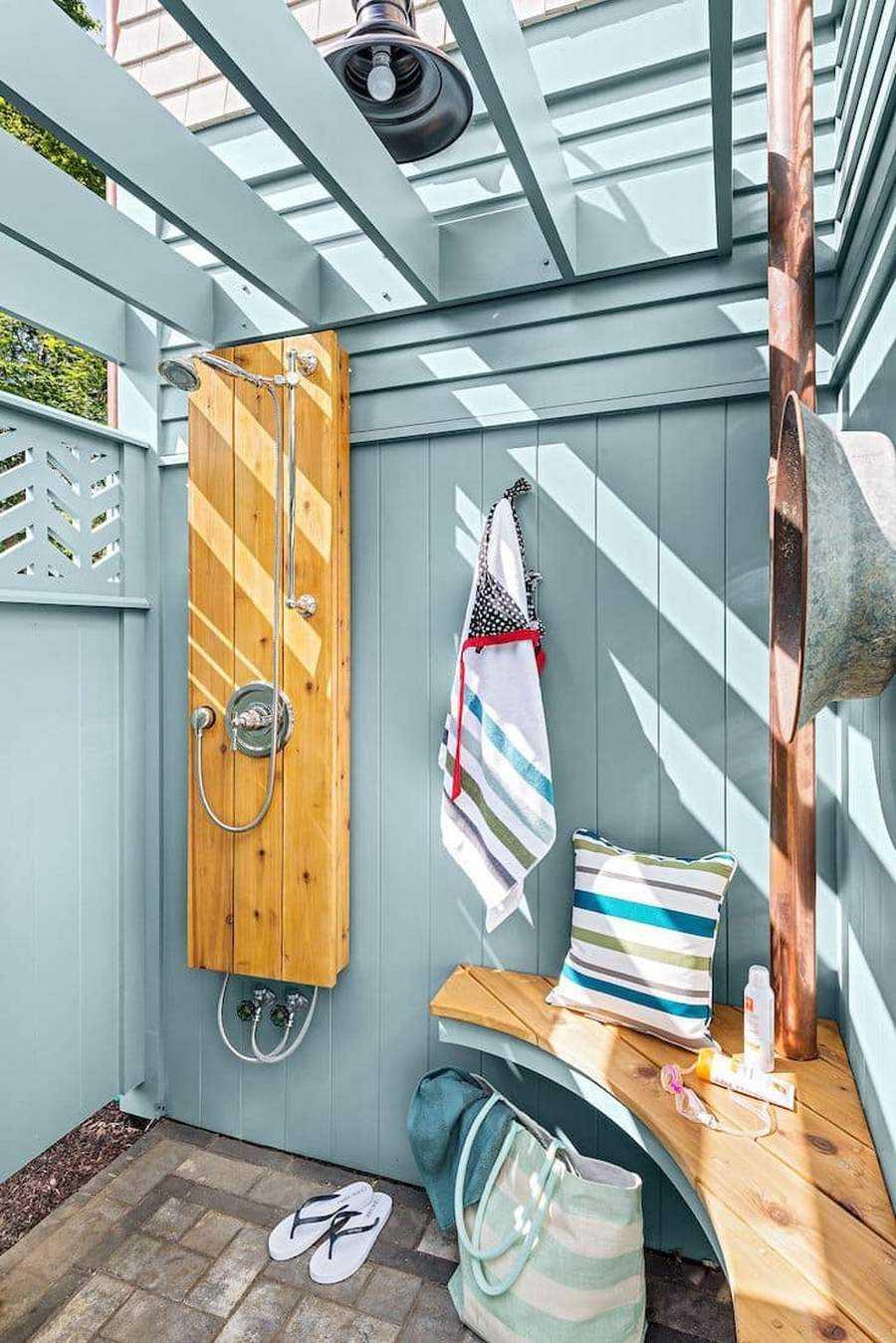 Летний душ для дачи своими руками: (100+ фото)