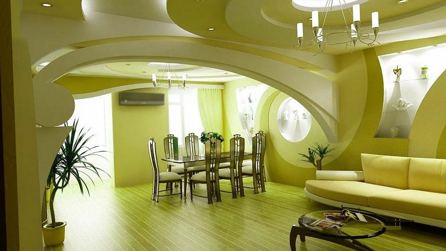 Люстра в лофт гостиной на гипсокартонном потолке