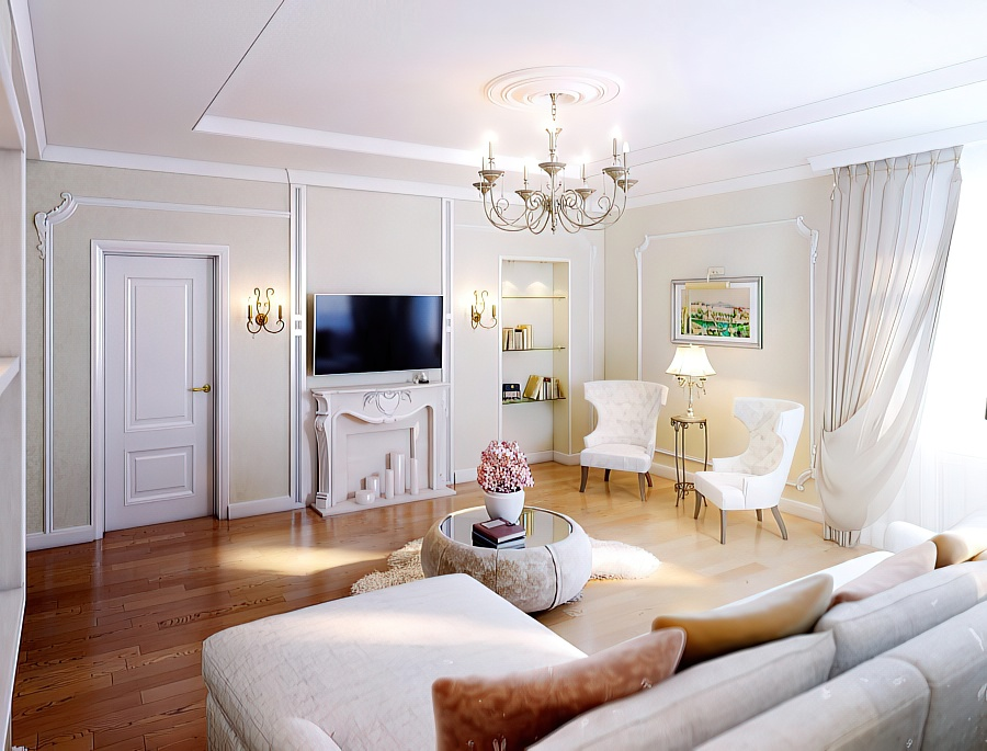 Классическая подвесная люстра в светлой скандинавской гостиной