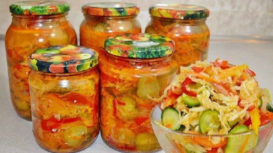 Салаты из огурцов на зиму: 10 пошаговых вкусных рецептов с фото
